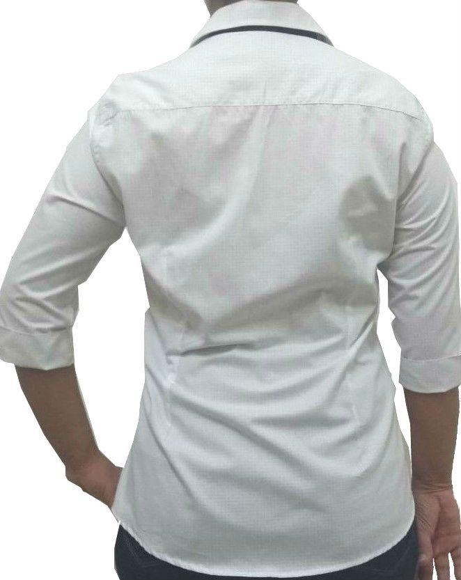 d5bbadac6e ... Camisa Social Feminina Tradicional 3 4 Branco Poá Detalhe Azul Algodão  Egípcio - Fiopoá Camisaria