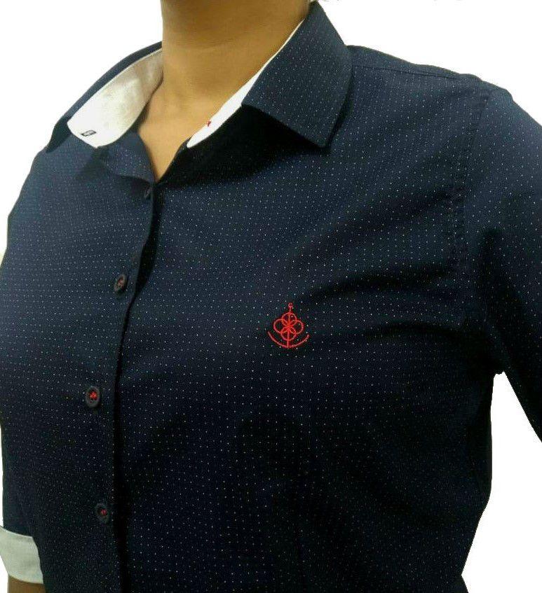 Camisa Social Feminina Tradicional 3 4 Azul Poá Bordado Vermelho Algodão  Egípcio - Fiopoá Camisaria ... 074e9b7ed1593