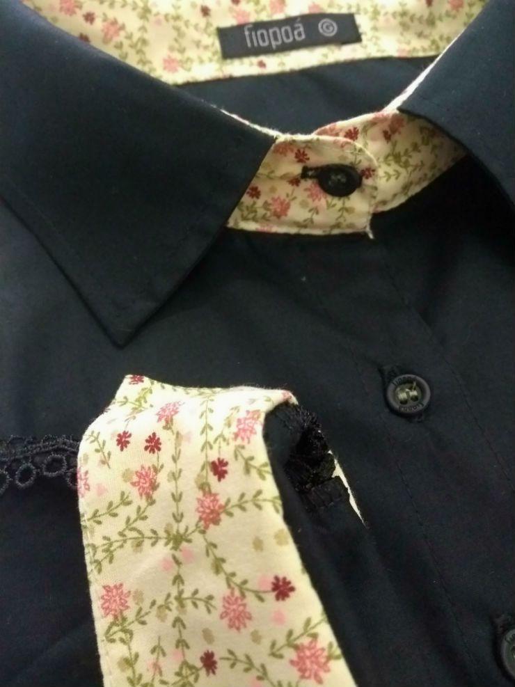 Camisa Social Feminina Tradicional 3 4 Preta Detalhe Bege e Renda Algodão  Egípcio b1abc2f357bd8
