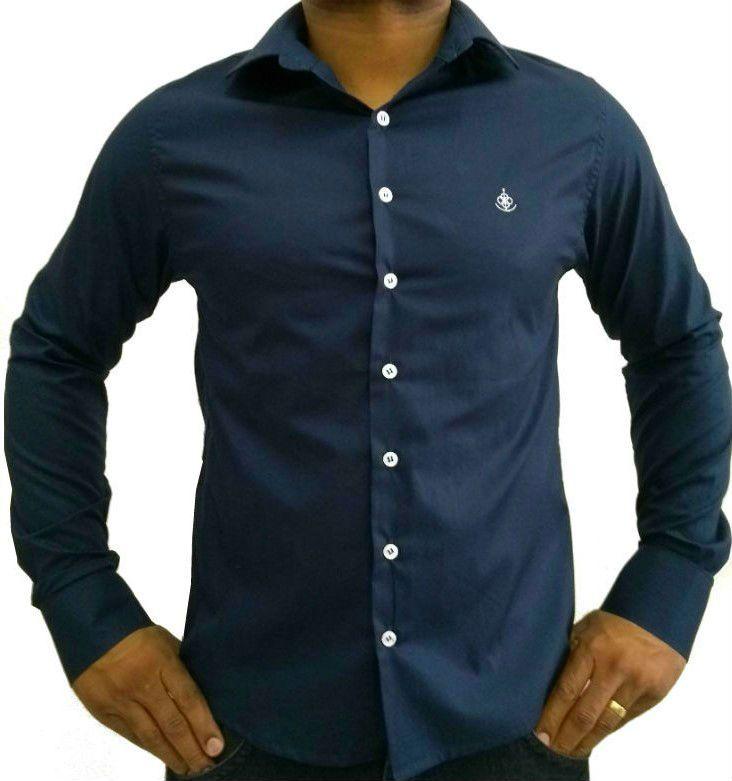 Camisa Social Masculina Slim Azul Algodão Egípcio e9bac683db6ee