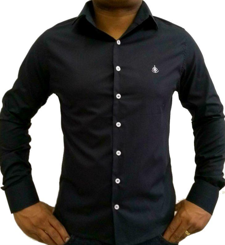 8d286204b5 Camisa Social Masculina Slim Preta Algodão Egípcio