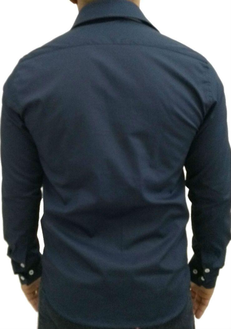 Camisa Social Masculina Slim Azul Detalhe Listado Algodão Egípcio. Image  description · Image description · Image description e0018d8121918