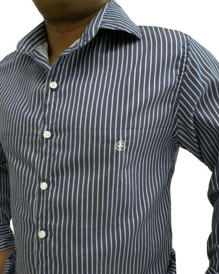 ... Camisa Social Masculina Slim Azul Listada Algodão Egípcio - Fiopoá  Camisaria ... f9a510e419175