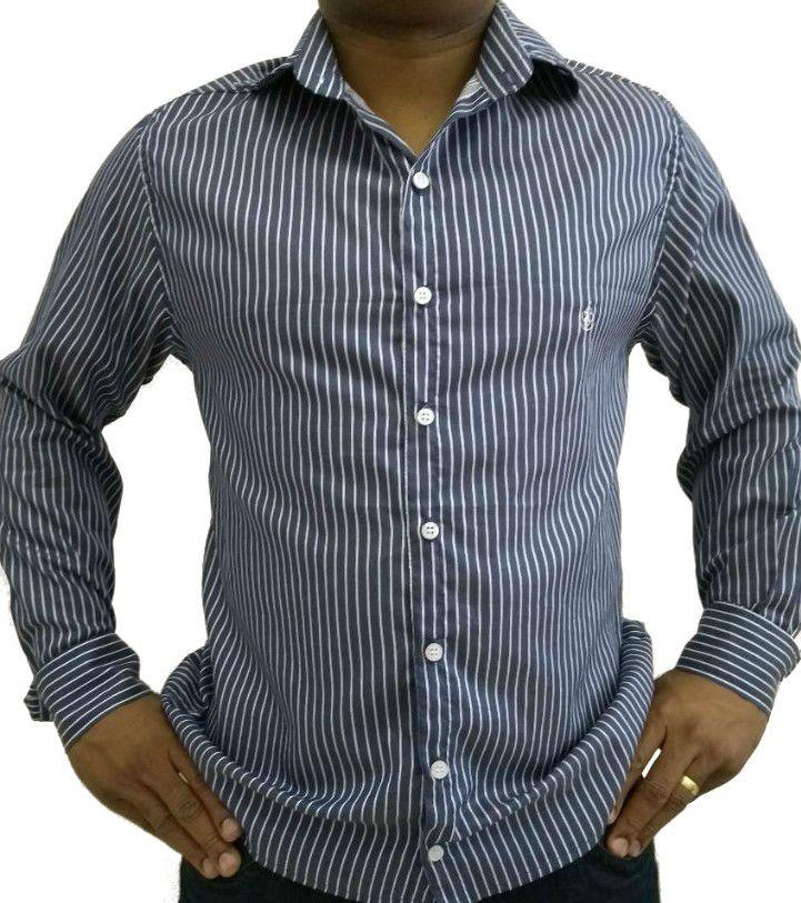 76ac7ddb2fae9 Camisa Social Masculina Slim Azul Listada Algodão Egípcio - Fiopoá Camisaria  ...