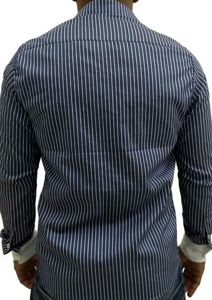 Camisa Social Masculina Slim Azul Listado Detalhe Branco Algodão Egípcio.  Image description · Image description · Image description 672c19943eade