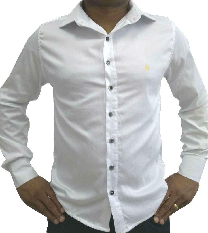 Camisa Social Masculina Slim Branca Acetinada Algodão Egípcio 25a35970a3ab3