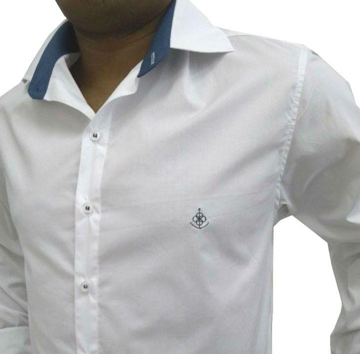 Camisa Social Masculina Slim Branca Detalhe Azul Algodão Egípcio - Fiopoá  Camisaria ... 592a48eafe343
