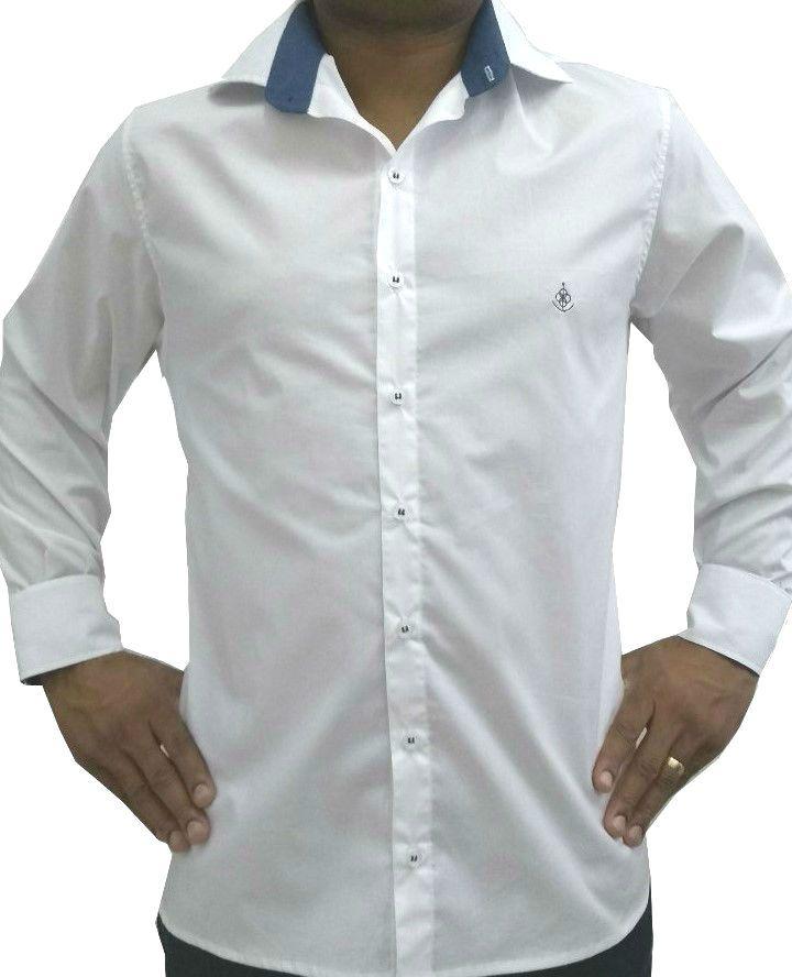 ... Camisa Social Masculina Slim Branca Detalhe Azul Algodão Egípcio - Fiopoá  Camisaria a6b8a21406303