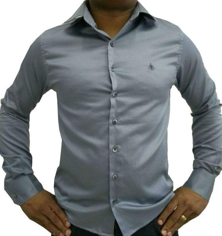 Camisa Social Masculina Slim Cinza Acetinada Algodão Egípcio 55f3ccc63301c