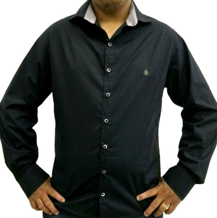 60a5454ee0 Camisa Social Masculina Slim Preta Detalhe Listado Cinza Algodão Egípcio -  Fiopoá Camisaria ...