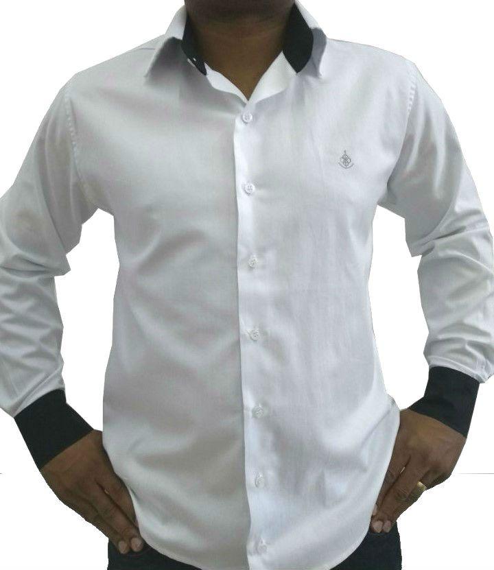 c85fb5ccff Camisa Social Masculina Tradicional Branca Detalhe Preto Algodão Egípcio.  Image description · Image description ...