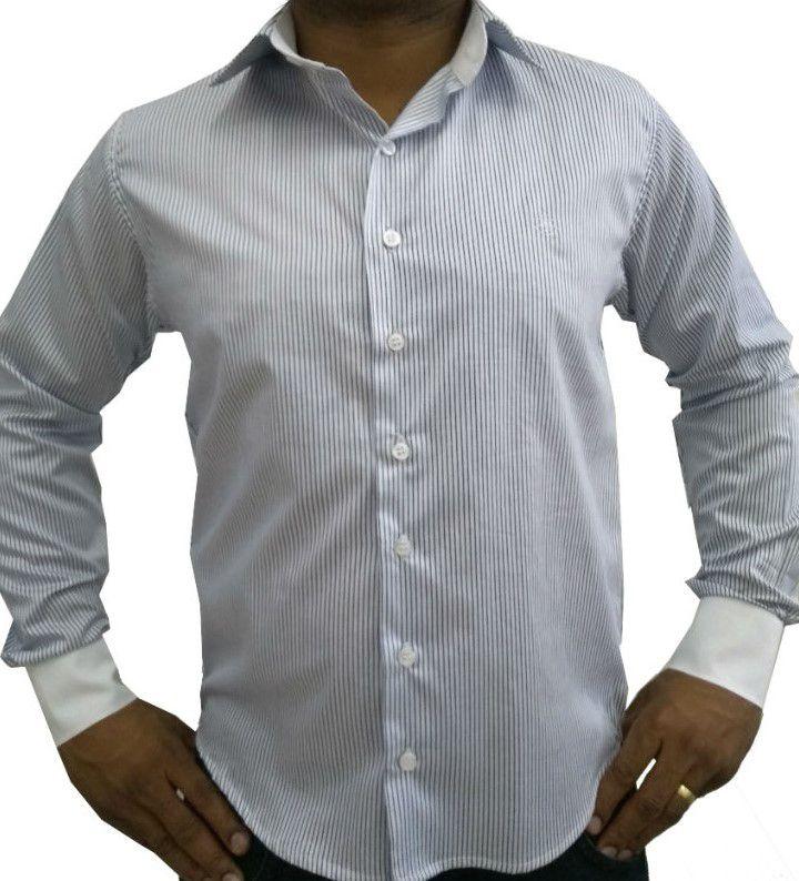 Camisa Social Masculina Tradicional Listado Azul Detalhe Branco Algodão  Egípcio 7e7f494c1b7ca