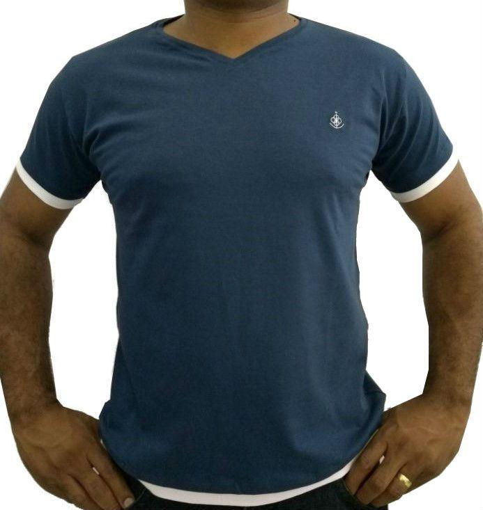 0d717026ba Camiseta Básica Masculina Azul Marinho Gola V Barra Dupla Algodão Egípcio