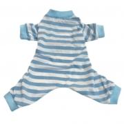 Pijama Pet listras azul e branco