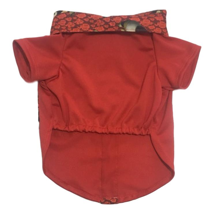 Camisa Pet Malha Piquet Vermelha Panda