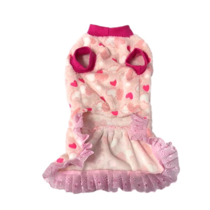 Vestido Pet Inverno Fleece Rosa