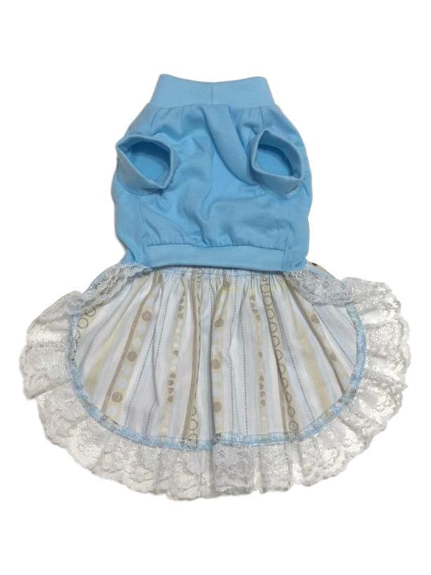 Vestido Pet Malha Azul Dama