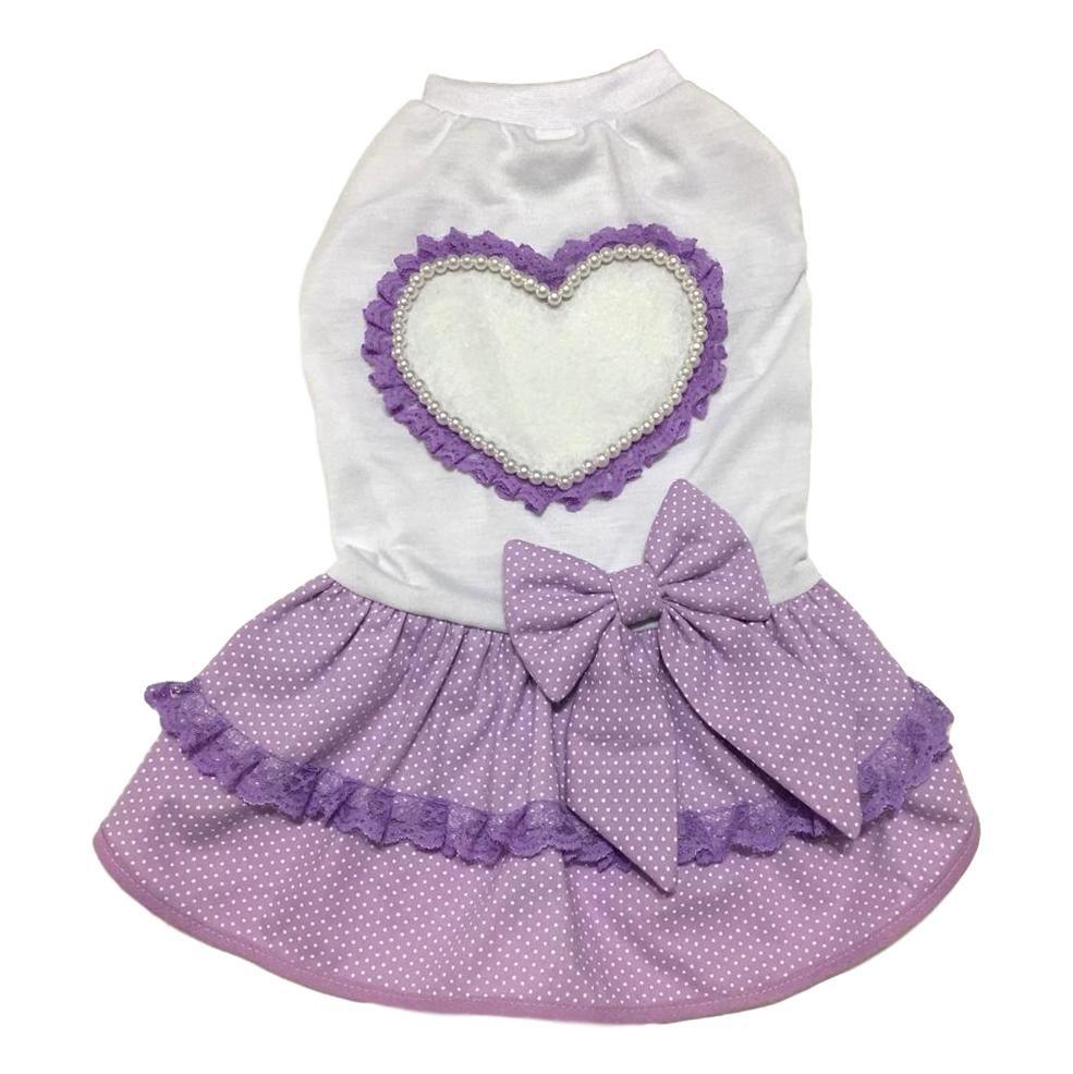 Vestido Pet Malha Coração Lilás