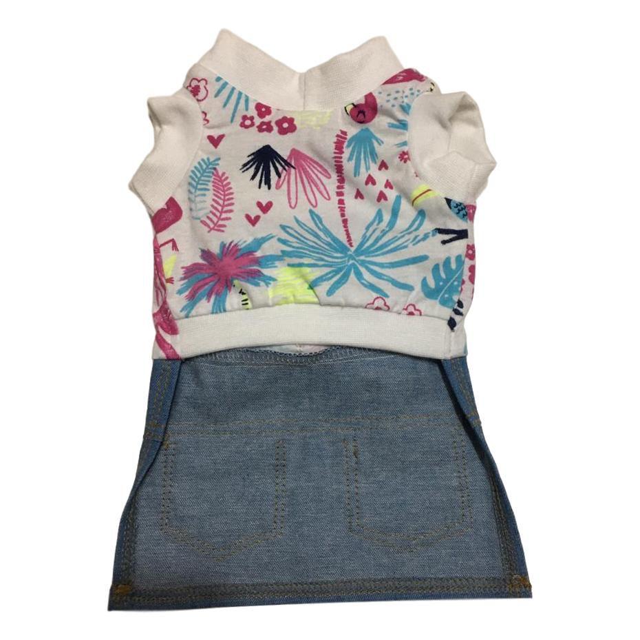 Vestido Pet Malha e Jeans Flamingo