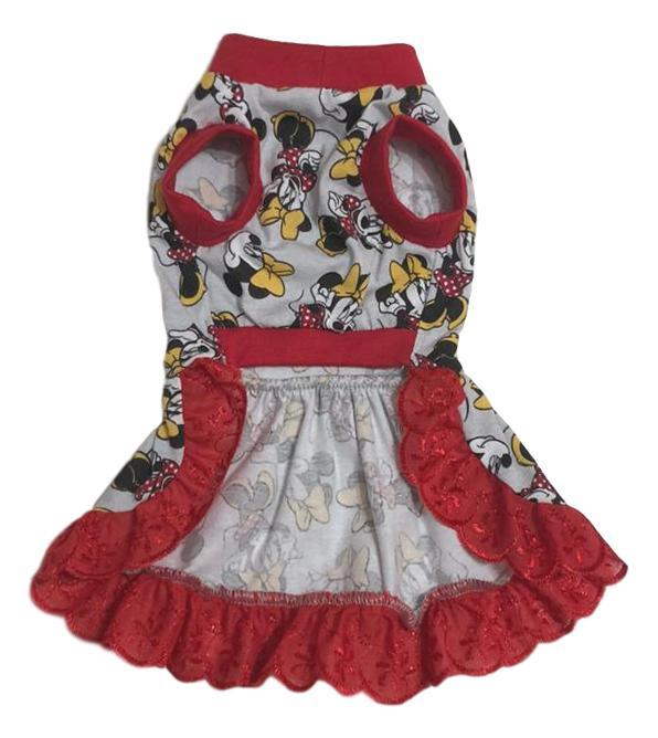 Vestido Pet Malha Minnie Cinza e Vermelho