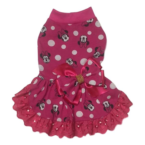 Vestido Pet Malha Minnie Rosa