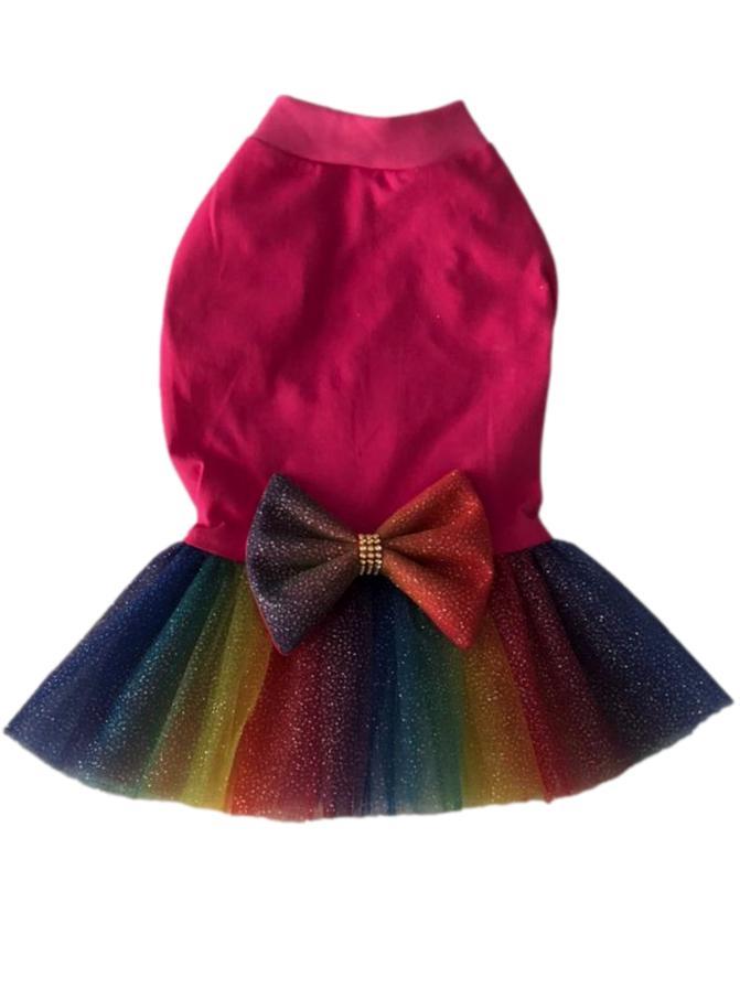 Vestido Pet Malha Tutu Íris Pink
