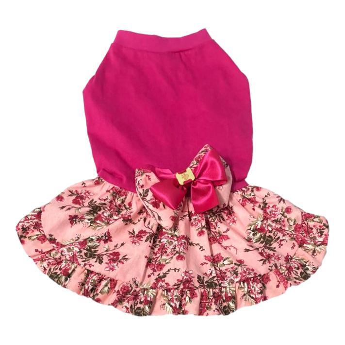 Vestido Pet Porte Grande Malha Floral Pink