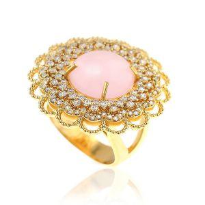 Anel Cabochão Luxo Semijoia em Ouro 18K com Micro Zircônia Branca e Pedra Natural Jade Rosa