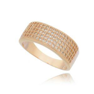 Anel Cravejado de Zircônia Cristal Banho Ouro Rosé Semijoia Luxo