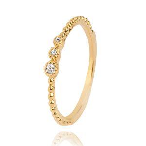 Anel Delicado com Pedra de Zircônia Branca Semijoia em Ouro 18K