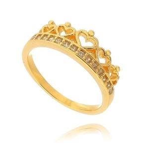 Anel Falange Coroa de Micro Zircônia Branca Brilhante Semijoia em Ouro 18K
