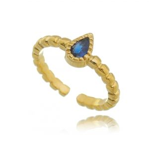 Anel Falange Regulável Gota de Cristal Azul Safira Semijoia em Ouro 18K
