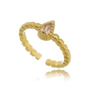 Anel Falange Regulável Gota Rosa Safira Semijoia em Ouro 18K