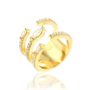 Anel Luxuoso Semijoia em Ouro 18K com Zircônia Branca