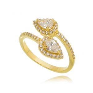 Anel Gota Dourado de Zircônia Cristal Semijoia em Ouro 18K