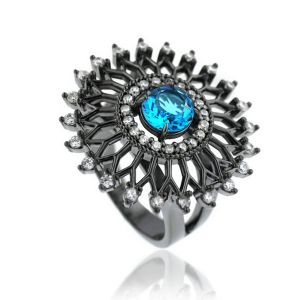 Anel Grande Vazado Semijoia em Ródio Negro com Micro Zircônia Branca e Cristal Turmalina Azul