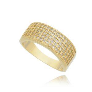 Anel Zircônia Cristal 5 Linhas Dourado Semijoia Luxo Ouro