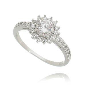 Anel Chuveirinho Zircônia Cristal Semijoia Ródio Branco