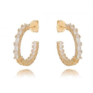 Argola Cristal Zircônia Ouro Rosé Semijoia Fashion
