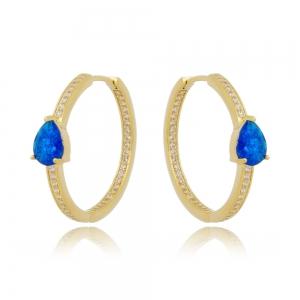 Argola Gota Azul Fusion e Zircônia Cristal Semijoia Ouro 18K