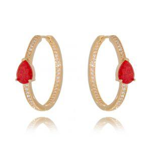 Argola Pedra Fusion Rubi e Zircônia Branca Semijoia Ouro Rosé