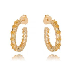 Argola Pedras Morganita Semijoia Fashion Ouro Rosé