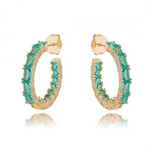 Argola Turmalina Fashion Cravejada Semijoia Ouro Rosé