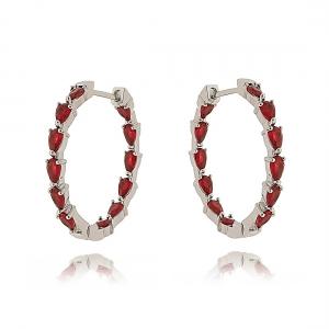 Argola Vermelha Rubi Semijoia Fashion em Ródio Branco