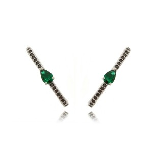 Brinco Anzol Ear Hook com Zircônia Gota Esmeralda e Negra Semijoia em Ródio Branco