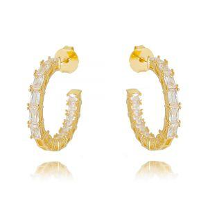 Brinco Argola da Moda Zircônia Cristal Semijoia Ouro
