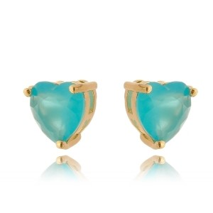 Brinco Azul Claro Coração Semijoia em Ouro 18K