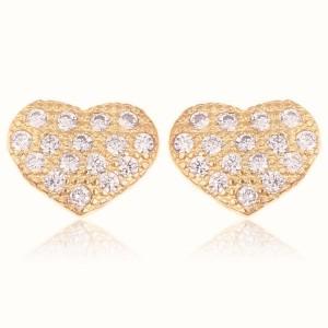 Brinco Coração Cravejado Zircônia Cristal Semijoia em Ouro 18K