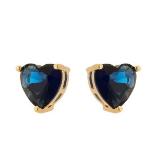 Brinco Coração Pedra Azul Safira Semijoia em Ouro 18K