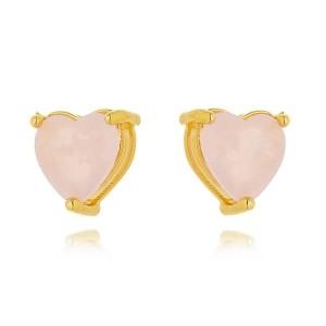 Brinco Coração Pequeno Rosa Semijoia em Ouro 18K